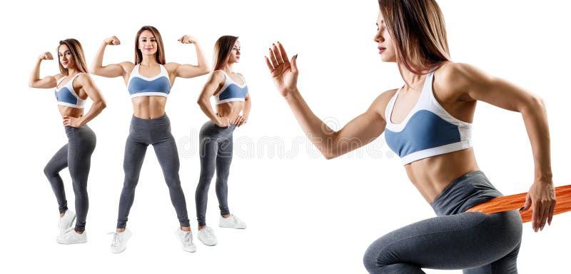 Femme de forme physique faisant l'exercice de mouvement brusque Concept de mode de vie de sport photographie stock libre de droits