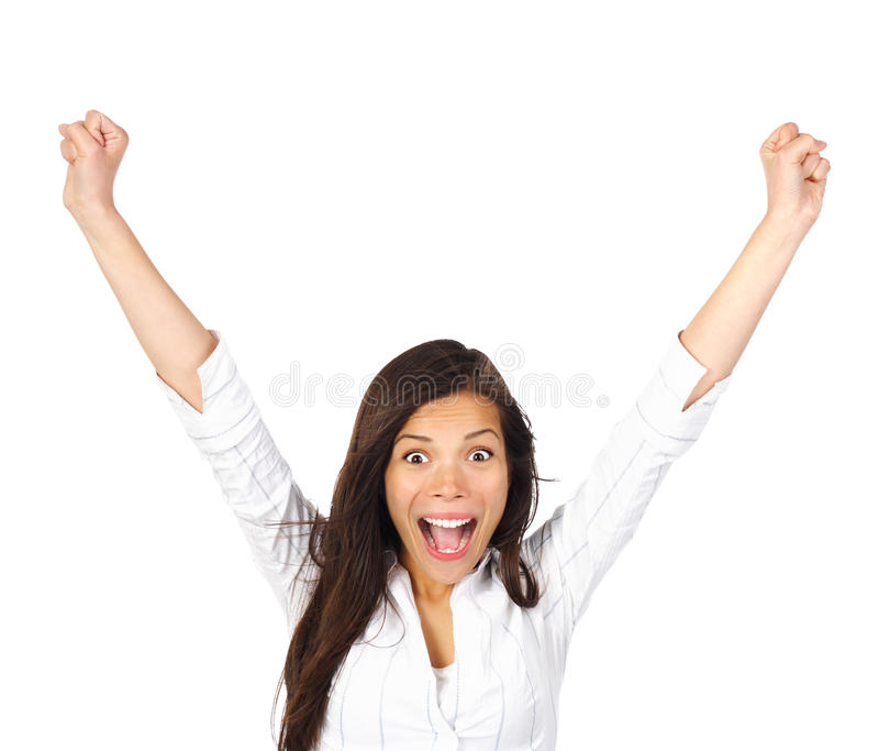 Femme de gain de gagnant enthousiaste photographie stock libre de droits