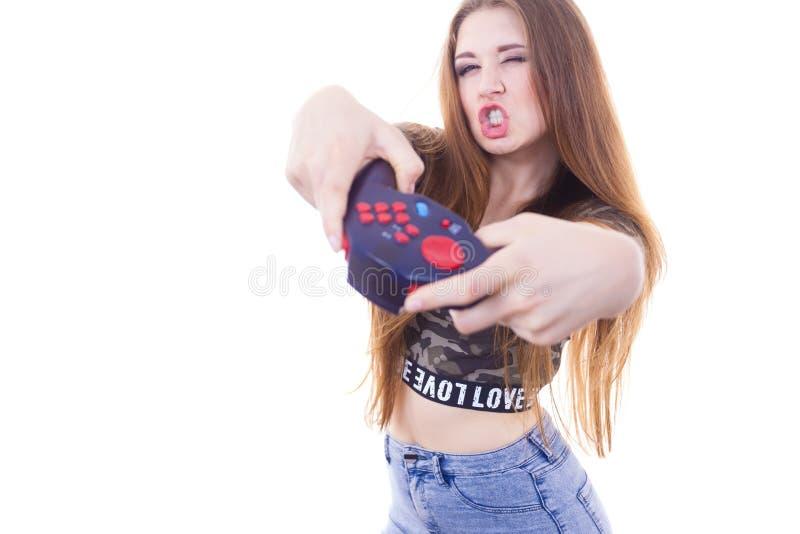 Femme de Gamer tenant la protection de jeu image stock