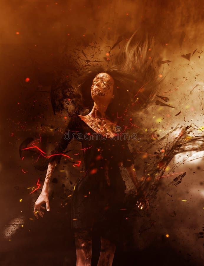 Femme de Ghost dans les bois illustration de vecteur