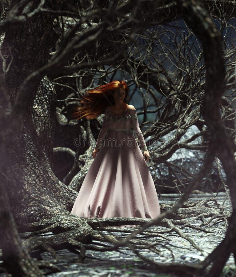 Femme de Ghost dans les bois illustration libre de droits