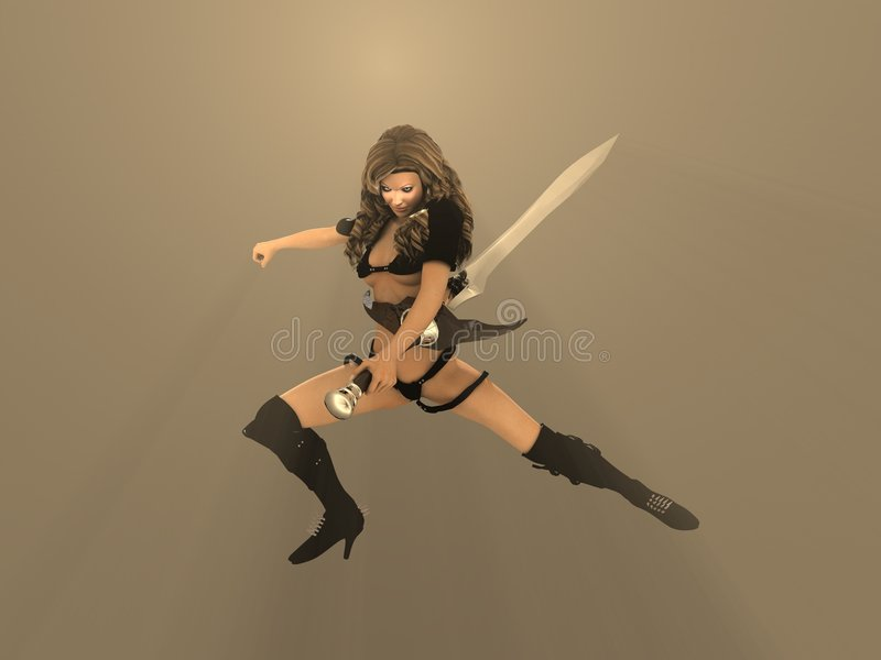 Femme de guerrier illustration de vecteur