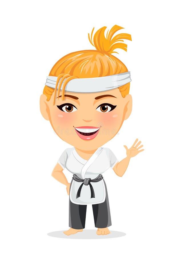 Femme de karaté dans le kimono Le personnage de dessin animé drôle de sourire avec la grande tête faisant le bonjour font des ges illustration stock