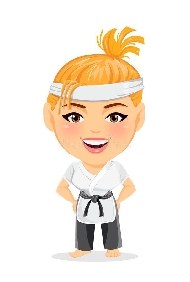 Femme de karaté dans le kimono Personnage de dessin animé drôle de sourire avec la grande tête illustration de vecteur