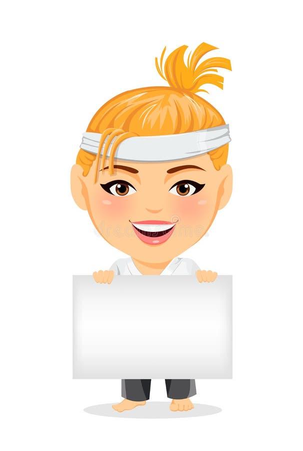 Femme de karaté dans le kimono Personnage de dessin animé drôle de sourire avec la grande tête tenant le signe vide illustration stock