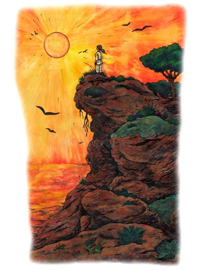Femme de karaté sur le lever de soleil de observation de côte (2009) illustration stock