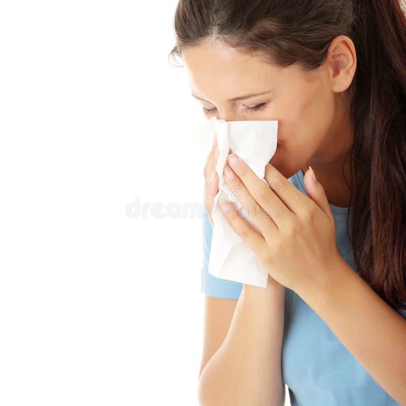 Femme de l'adolescence avec l'allergie image libre de droits
