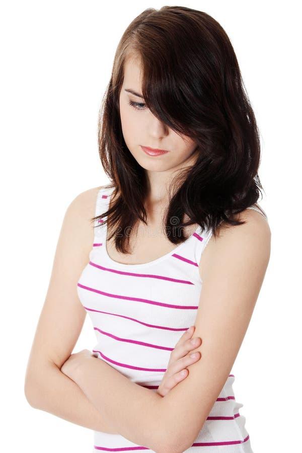Femme de l'adolescence déprimée image libre de droits
