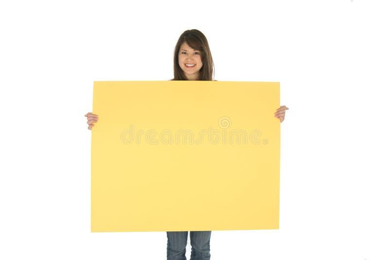 femme de l'espace de copie de panneau images stock