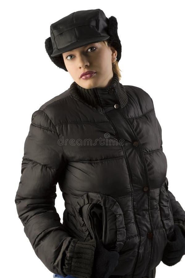 Femme de l'hiver dans le noir photo libre de droits