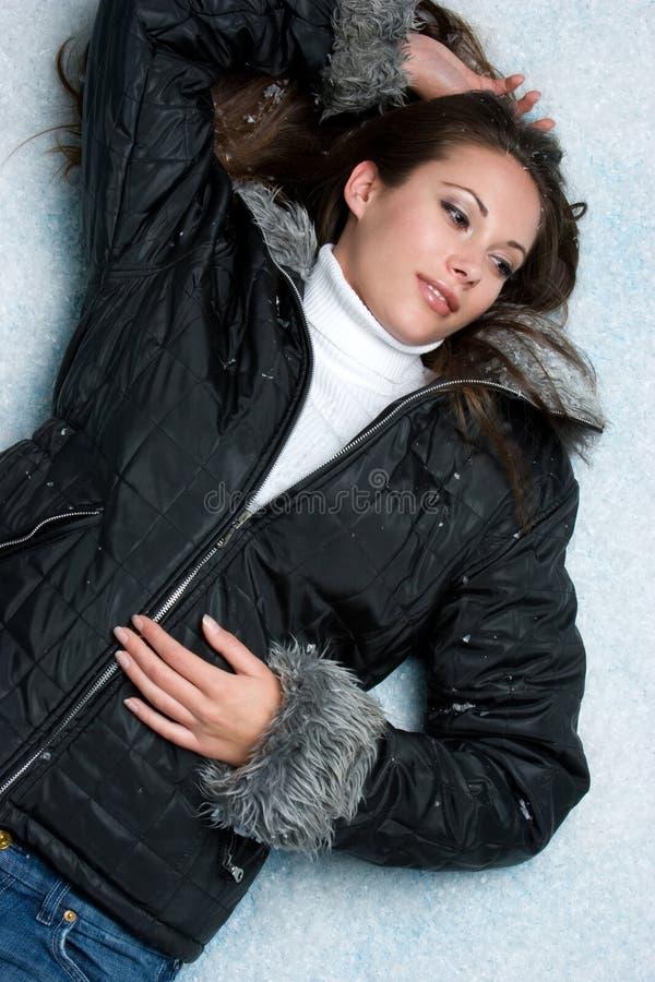 femme de l'hiver de neige images stock