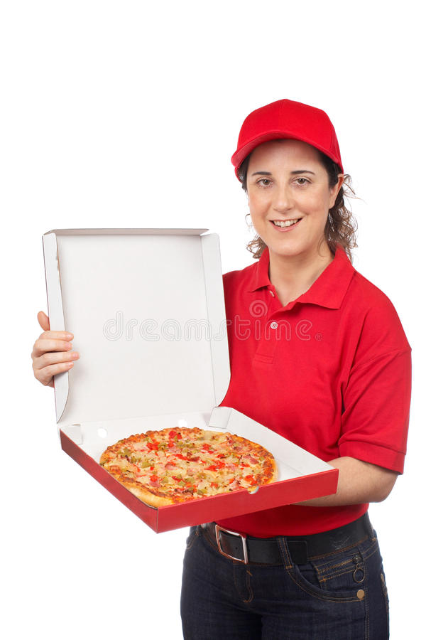 Femme de la distribution de pizza photographie stock