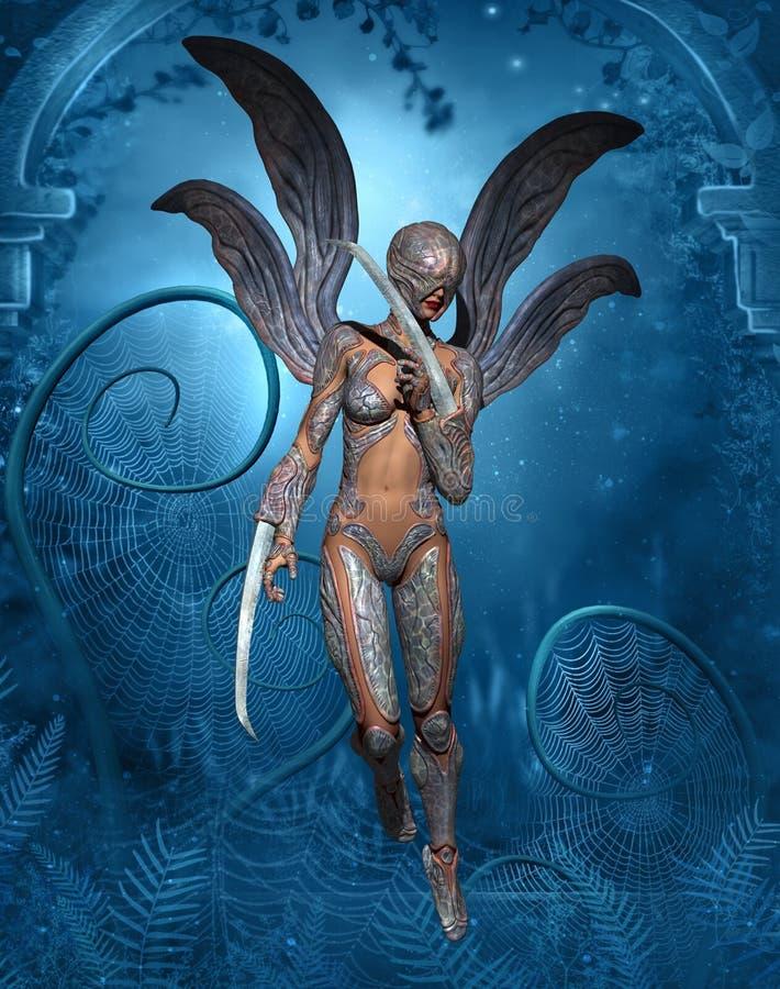 Femme de libellule d'imagination illustration de vecteur