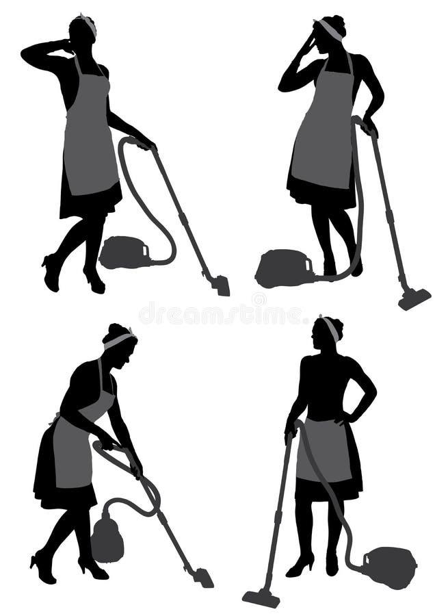 Femme de ménage With Vacuum Cleaner images stock