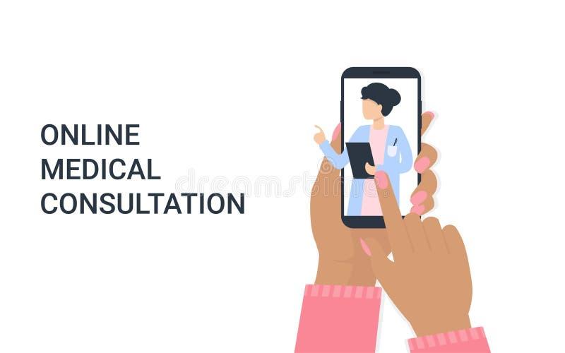 Femme de main avec le téléphone et la femme de docteur en ligne illustration libre de droits