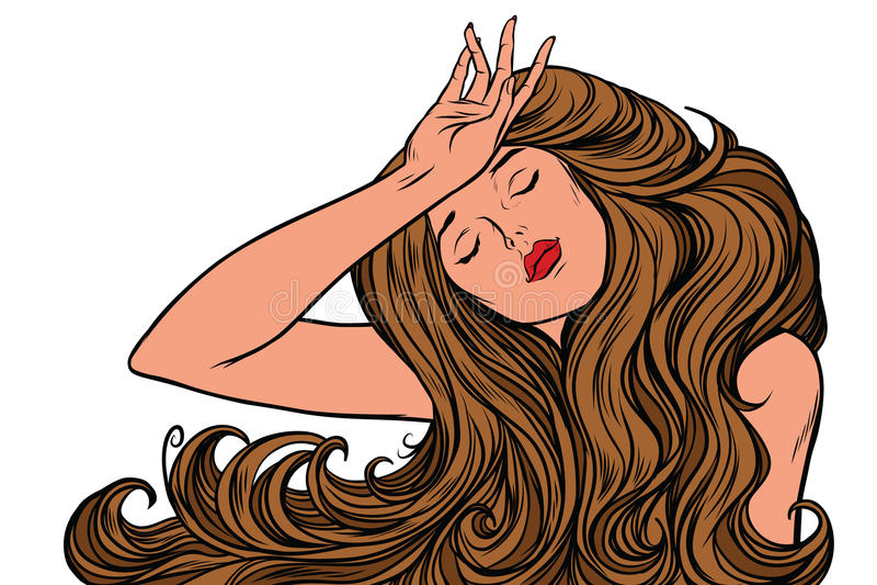 Femme de mal de tête ou juste un rêve illustration de vecteur