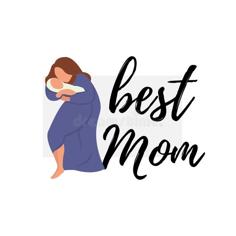 Femme de maman de bannière plate de vecteur la meilleure dans le bleu illustration stock