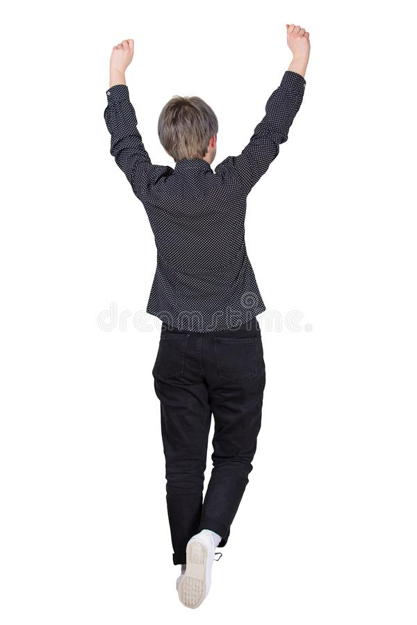 Femme de marche célébrer le succès photos stock
