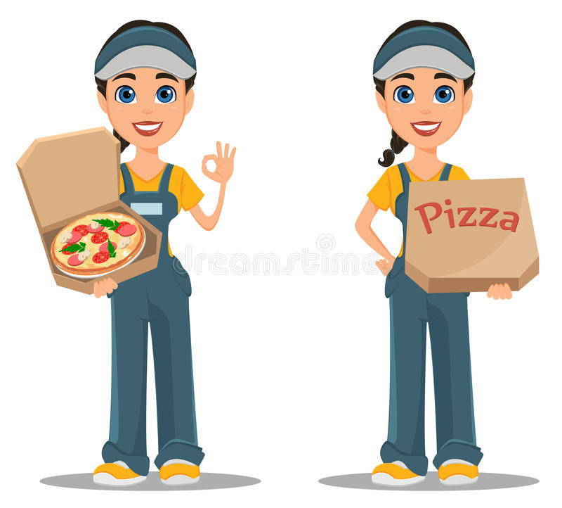 Femme de messager livrant la pizza positionnement La livraison rapide professionnelle illustration libre de droits