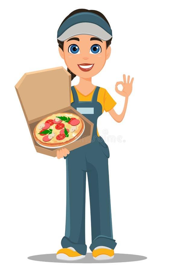 Femme de messager tenant la pizza chaude savoureuse et montrant le signe correct illustration de vecteur