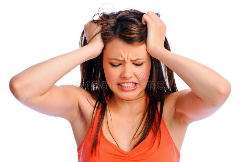 Femme de migraine de douleur de mal de tête photos libres de droits