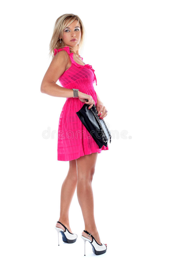 Femme de mode avec le sac d'embrayage image libre de droits
