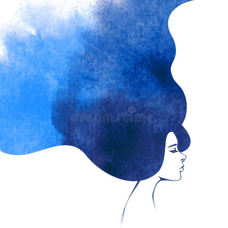 Femme de mode d'aquarelle avec de longs cheveux illustration stock