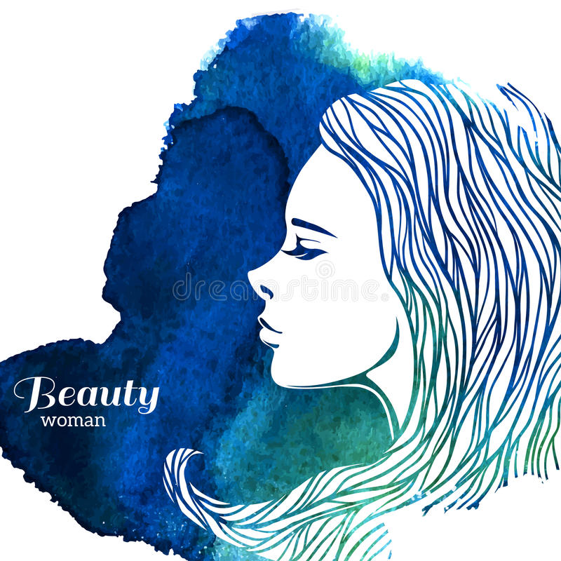 Femme de mode d'aquarelle avec de longs cheveux Vecteur illustration stock