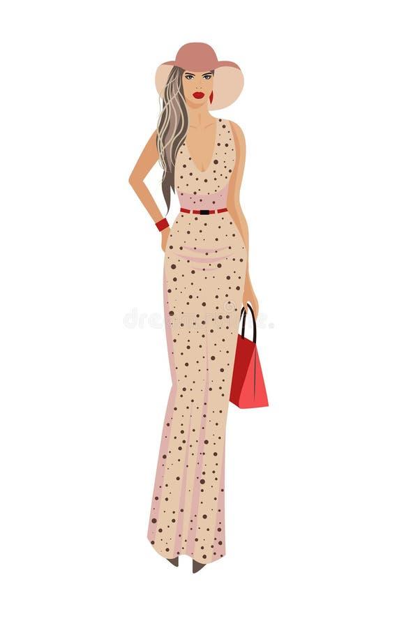 Femme de mode dans le chapeau et la longue robe illustration stock