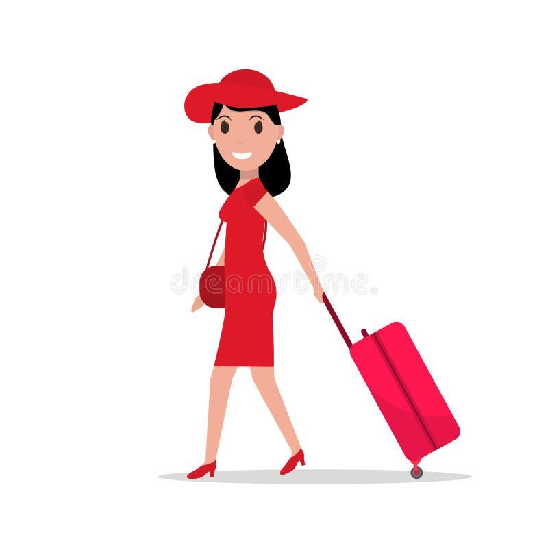 Femme de mode de bande dessinée de vecteur avec le bagage de voyage illustration stock