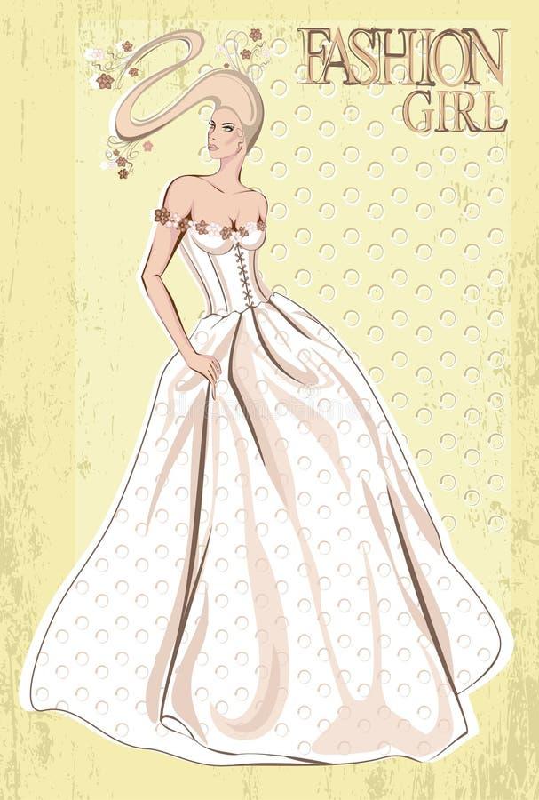 Femme de mode de vecteur de cru. Rétro mariée illustration de vecteur