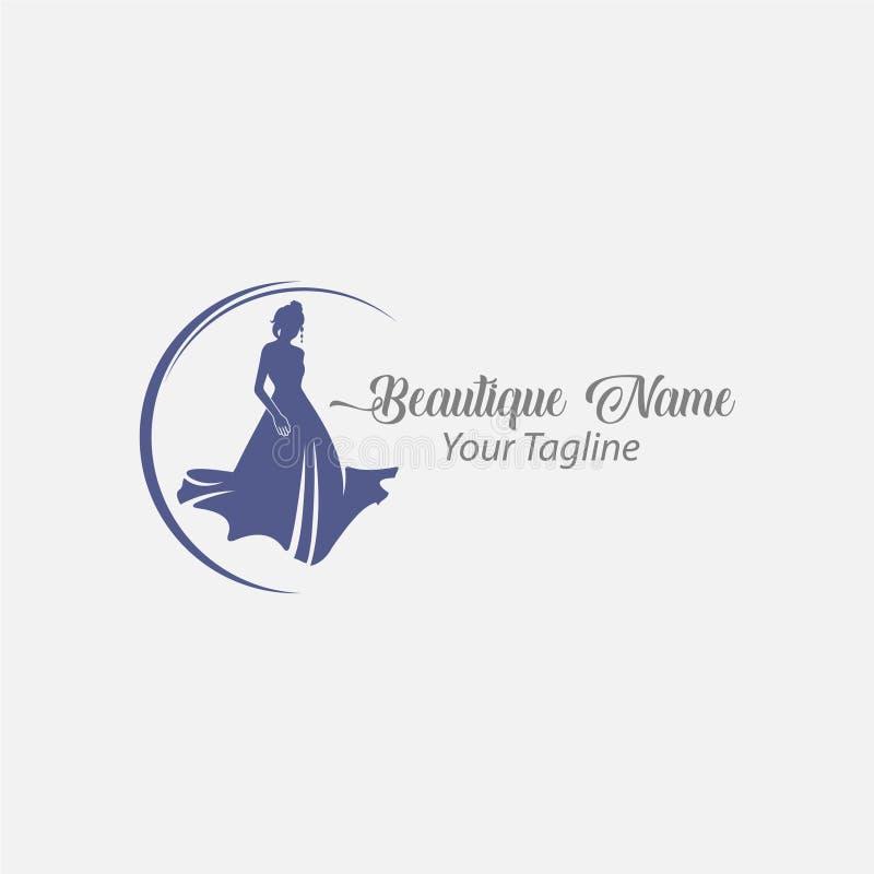 Femme de mode de logo de magasin, diva de silhouette de bleu marine illustration de vecteur