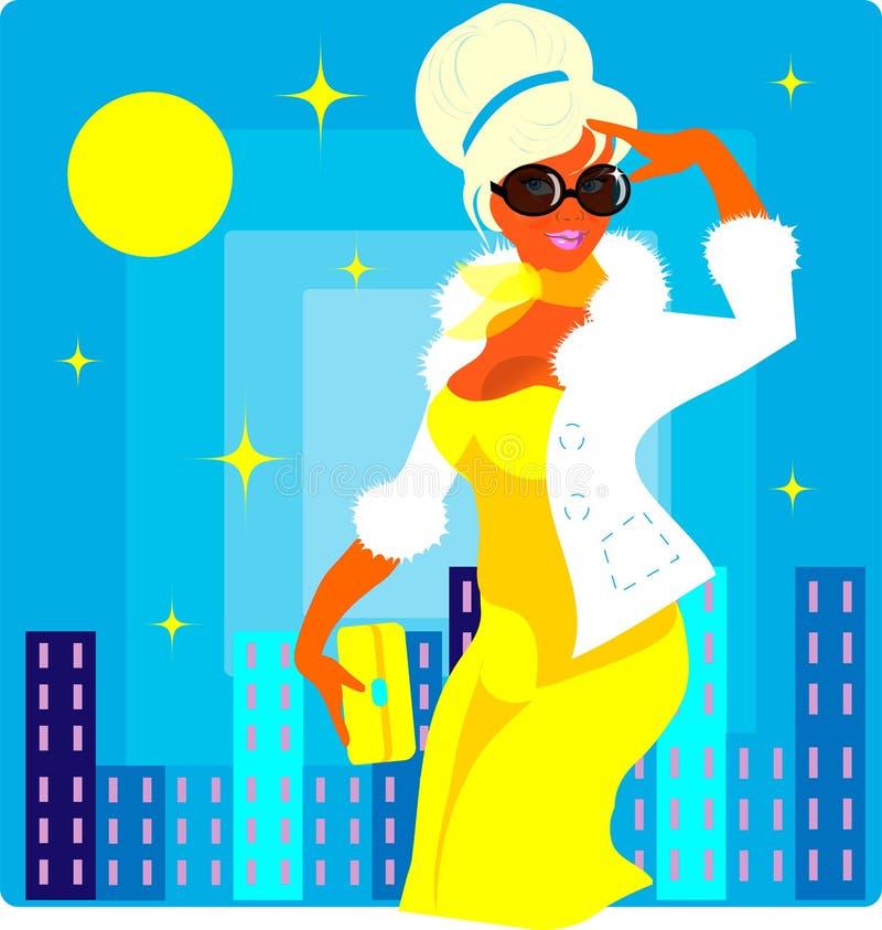 Femme de mode sur le fond de Sun City illustration libre de droits