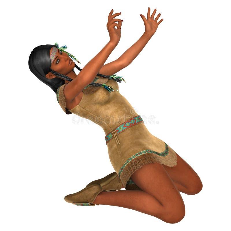femme de Natif américain du rendu 3D sur le blanc illustration stock