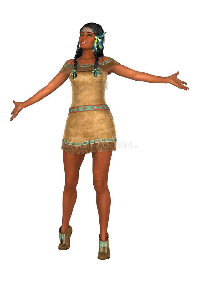 femme de Natif américain du rendu 3D sur le blanc illustration de vecteur