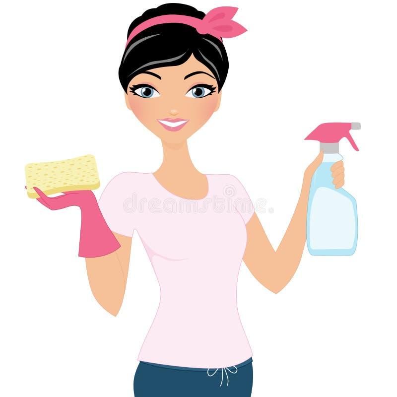 Femme de nettoyage illustration stock