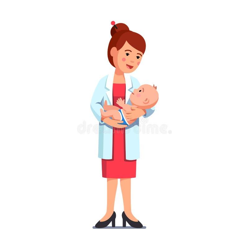 Femme de pédiatre tenant le petit bébé dans des mains illustration de vecteur