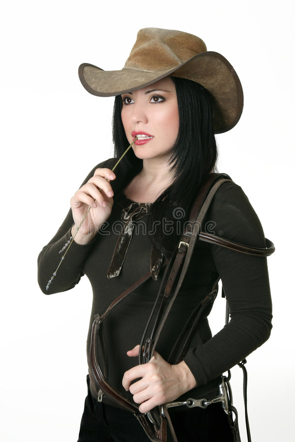 Femme de pays portant un bras de chalut image stock