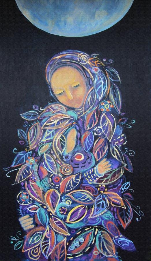 Femme de peinture avec le bébé maternité illustration libre de droits