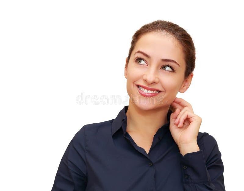 Femme de pensée de sourire d'affaires images stock