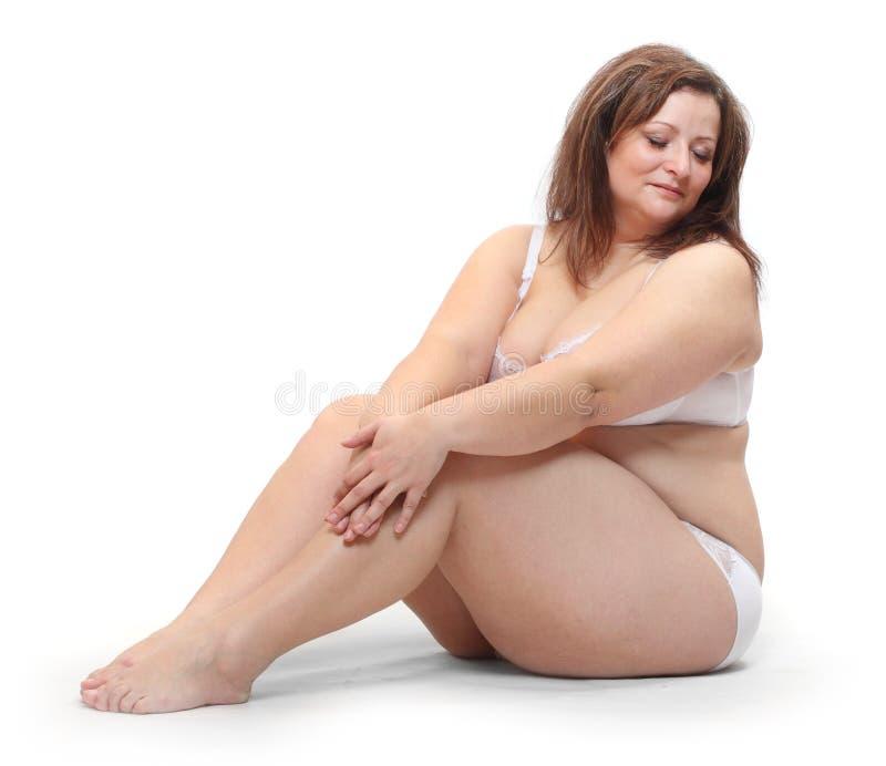 Femme de poids excessif. photos stock