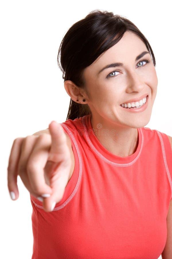 Femme de pointage heureuse images libres de droits