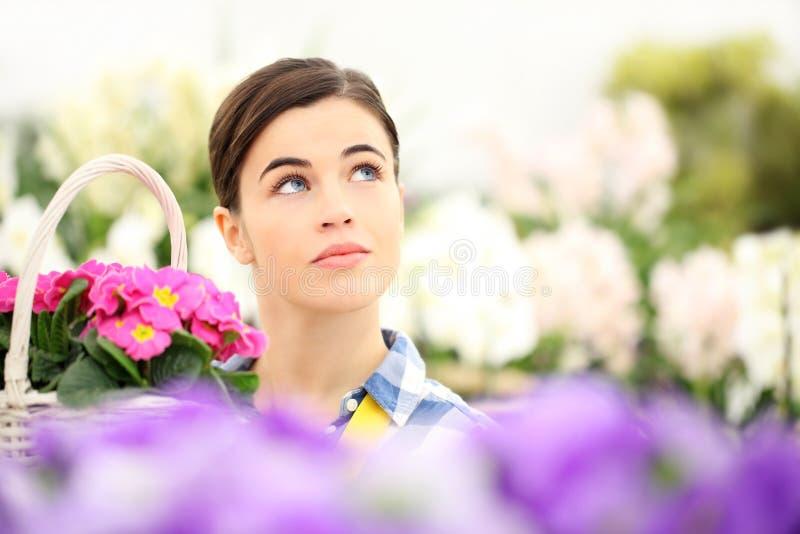 Femme de printemps dans le jardin recherchant avec des fleurs de panier photographie stock