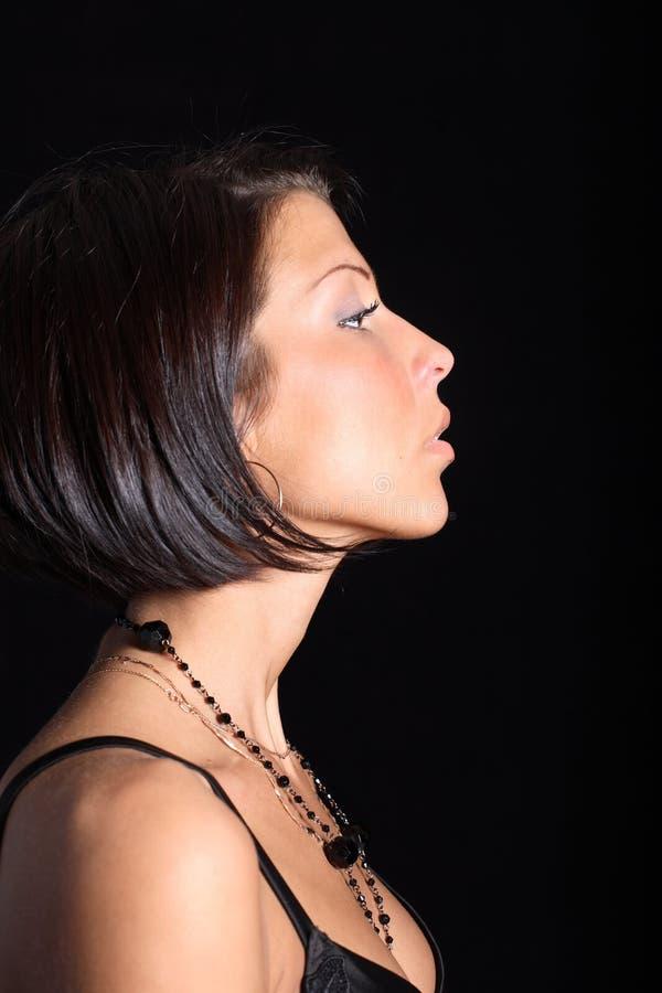femme de profil de verticale images libres de droits