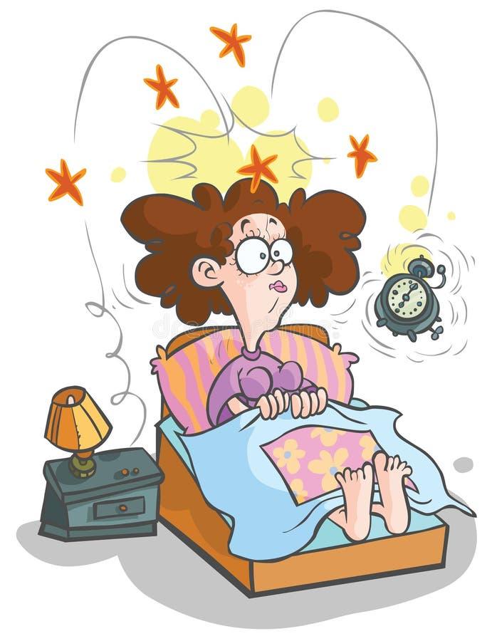Femme de réveil-vers le haut de bande dessinée. illustration libre de droits