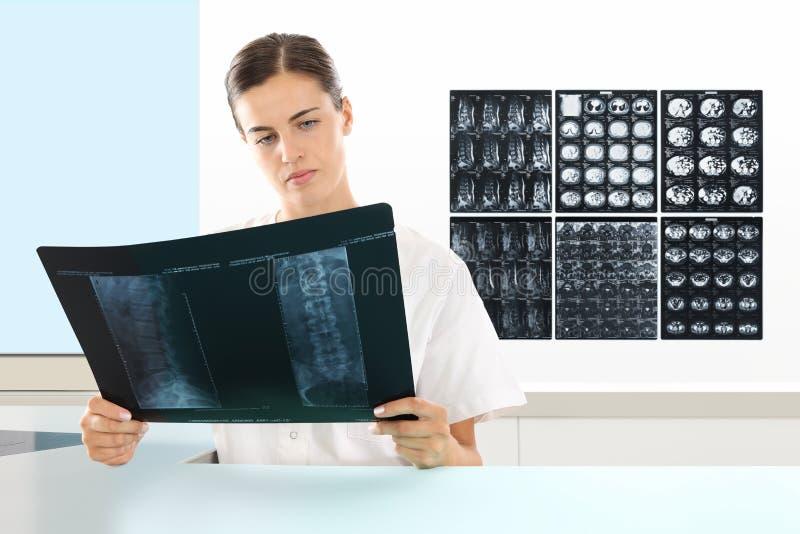 Femme de radiologue vérifiant le rayon X, soins de santé photos stock