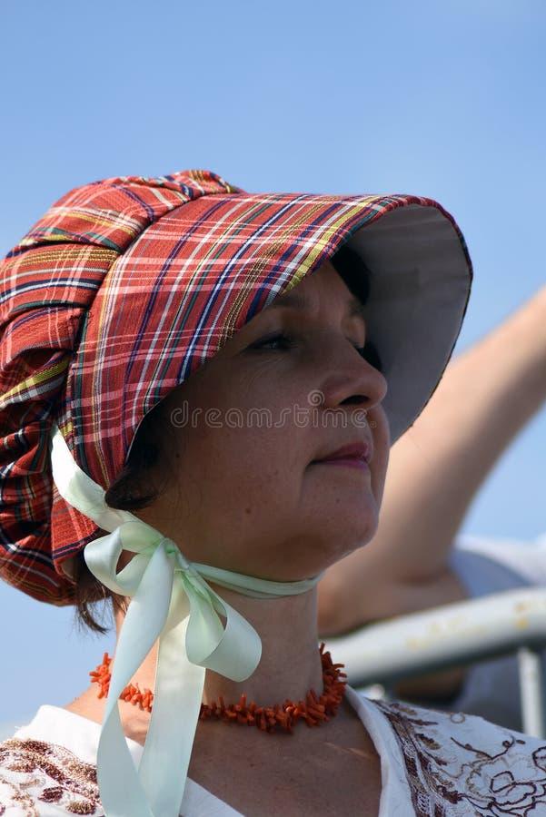 Femme de Reenactor à la reconstitution historique de bataille de Borodino en Russie photo libre de droits