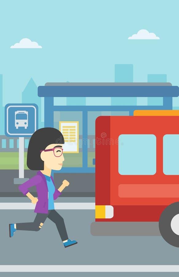 Femme de retardataire courant pour l'autobus illustration stock