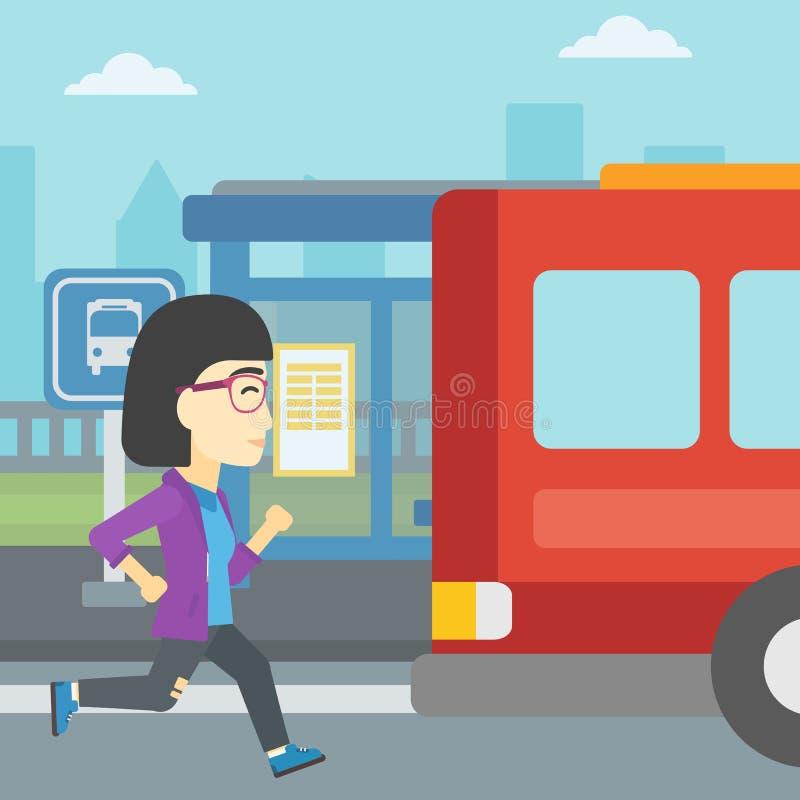 Femme de retardataire courant pour l'autobus illustration de vecteur