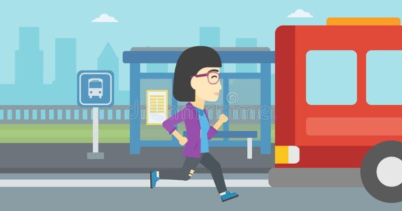 Femme de retardataire courant pour l'autobus illustration libre de droits